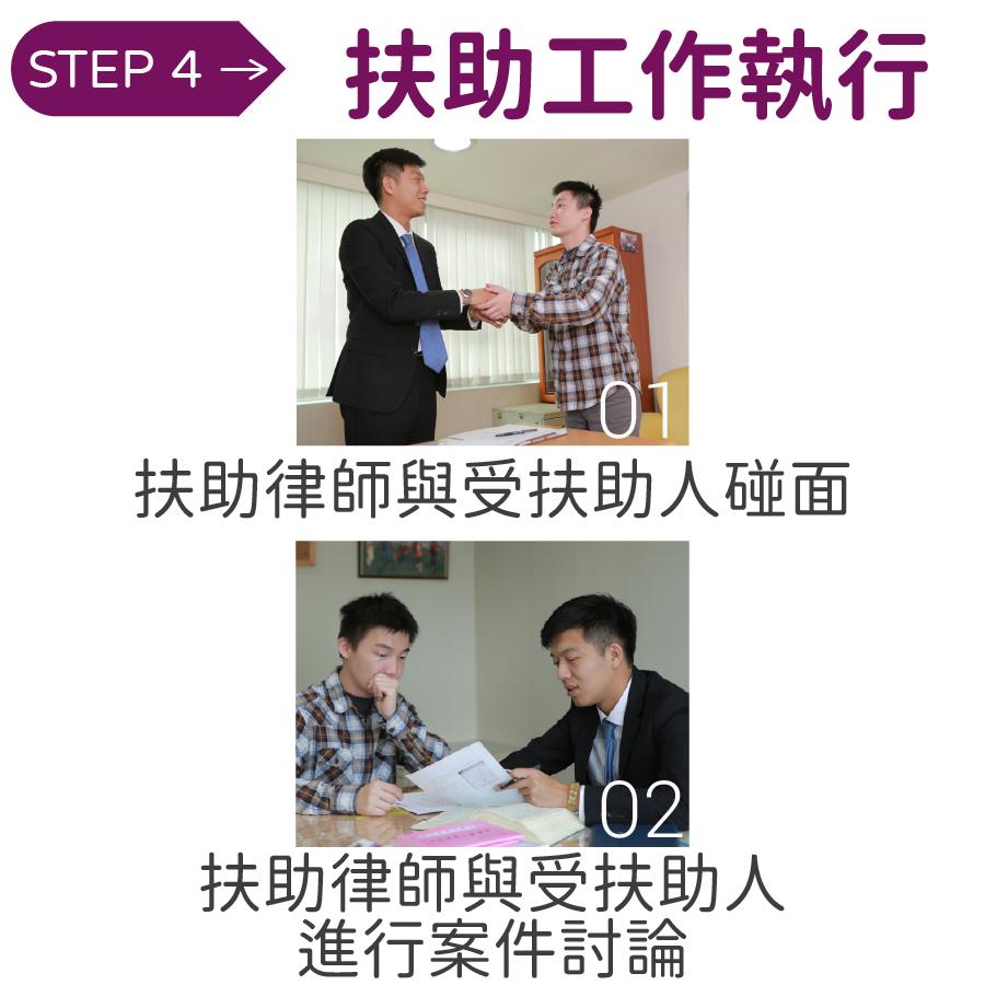 01 扶助律師與受扶助人碰面,02 扶助律師與受扶助人 進行案件討論